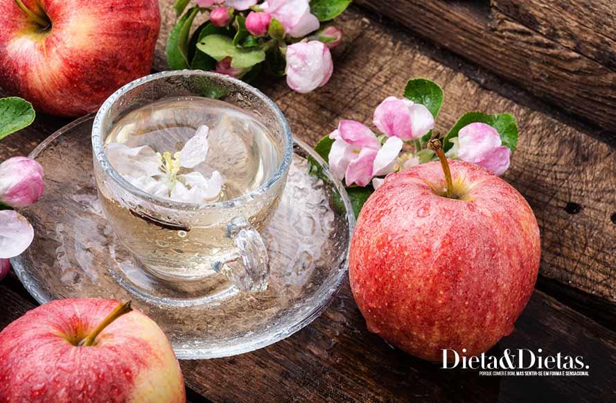 Chás para Perder a Barriga de mate com maçã