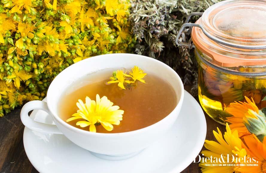 chá de calêndula promove a saúde dos olhos